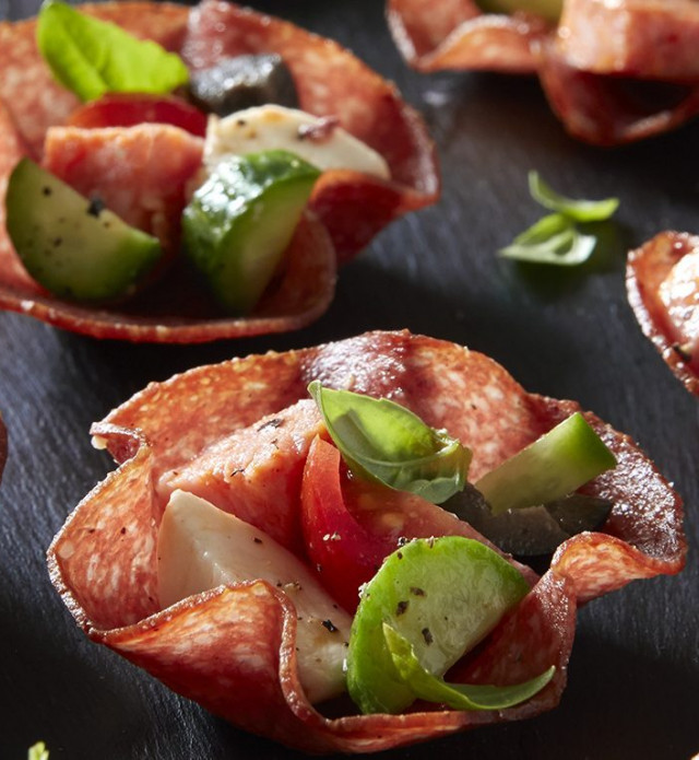 Picture of Salami Cups with cheese and vegetables