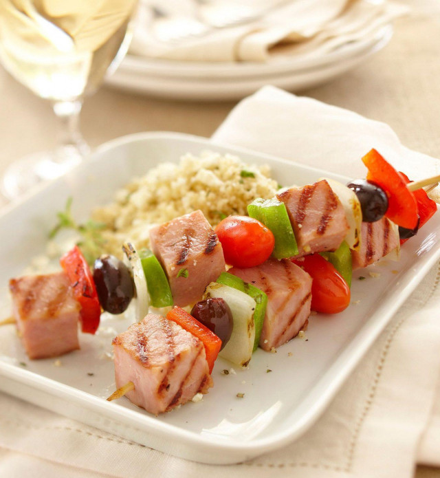 Ham, Olives, Tomato and cucumber on a kebob